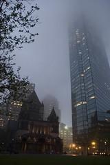 Almost dark. (paolonl) Tags: mist building boston clouds skyscraper dark copley oldnew