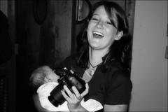 For the scrapbook (and blog): Niece with her new camera at my party