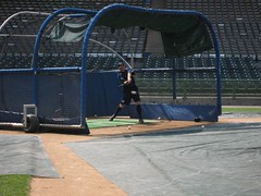Manager John Stearns takes a swing. (971 The Fan) Tags: columbus ohio sports radio fan am state osu ohiostate ricordati 1460 wbns columbusclippers 1460thefan wbnsam