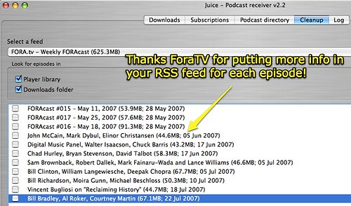 FORA.tv includes episode details in its RSS feed!