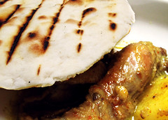 Grill Bread with Chicken Curry