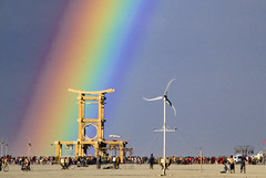 temple (mason bryant) Tags: temple rainbow desert burningman greenman windpower groovelabs07 everyonelovesarainbow