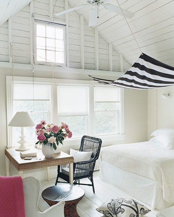 White bedroom + striped canopy