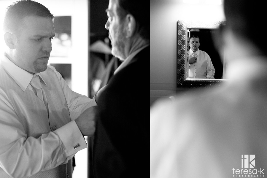 Groom getting ready, galt wedding, winery at grace vineyards