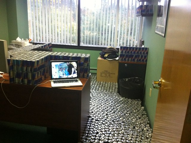 Red Bull Cans Invade My Office