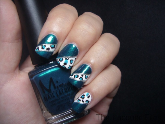 Blue Leopard Nail Art Design
