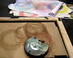 Roomba Spirograph (jurvetson) Tags: art robot automation roomba spirograph makerfaire makerfaire2007