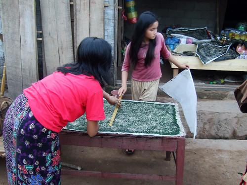 Preparing river weed sheets