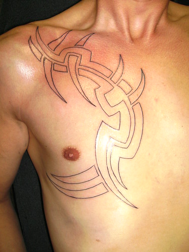 Tribal Tattoo Chest Piece Complete