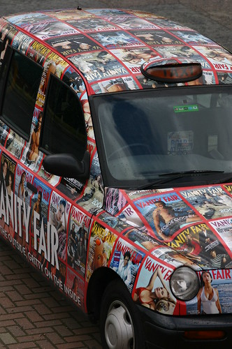 Black Cab Decorated by the Covers of Vanity Fair