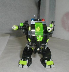 sroscamper 006 (JINZONINGEN 73) Tags: black green night neon nocturnal space police battle technic covert lime trans bionicle mecha mech moc biped