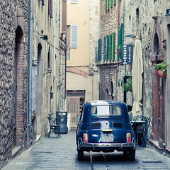 ({cindy}) Tags: street blue italy car fiat little explore frontpage umbria fiat500 todi
