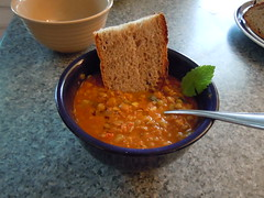 lentil soup with bread