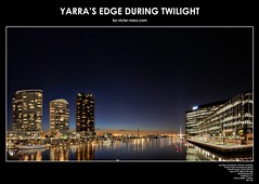 Yarra's Edge during Twilight (Victor Marz) Tags: panorama building horizontal architecture night high twilight lowlight cityscape dusk towers australia melbourne landmark victoria structure resolution yarra docklands anz waterscape skyrise lorimerstreet yarrariver residentialtower yarrasedge anzbank largeresolution anzheadquarter