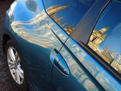 (robep) Tags: uk blue cambridge england distortion reflection car architecture honda kingscollege universityofcambridge