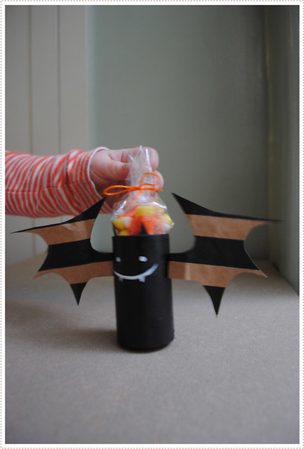 recycling paper for halloween: bat made of toilet roll and paper bag