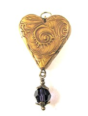 Victorian Christmas Pendant Burnished Gold Heart with Amethyst Swarovski Crystal