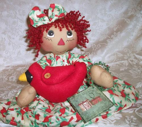 Primitive Raggedy Christmas Cardinal Rag Handsewn Doll