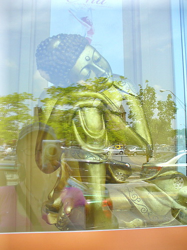 Sleeping Buddha, with reflection