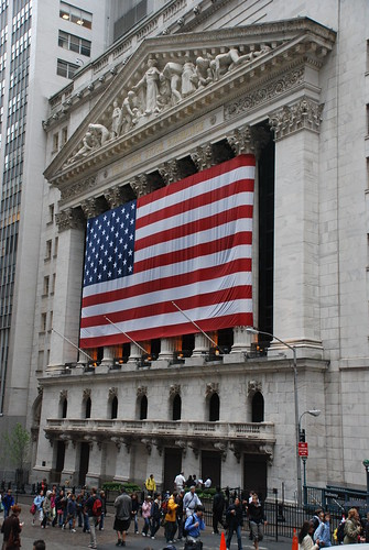 New York Stock Exchange draped in giant American flag