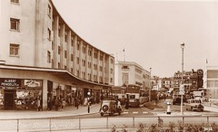 Old Town Street, Plymouth, 1950s (Richard and Gill) Tags: old city blackandwhite bus sepia traffic boots postcard plymouth standrewscross devon 1950s shops citycentre doubledecker postwar guinessisgoodforyou drakecircus drakescircus oldtownstreet albertpengelly