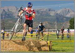 Utah Cyclocross Opener (Photo-John) Tags: bike bicycle race cycling utah jump heber competition run barrier velo cyclocross compete