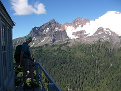 A visitor to the lookout gazes upon Mt Baker