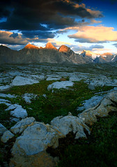 Giants of Nyahe-ya-'nibi (storm light) Tags: sunset canada mountains rocks bc plateau alpine limestone rockymountains karst alpenglow italiangroup frontranges heightoftherockiesprovincialpark