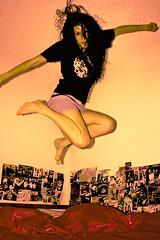 (TashaLoz) Tags: selfportrait canon hair fun fly crazy jump bed peace timer 400d