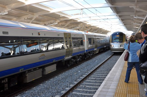 Gautrain arriving at Rhodesfield Station