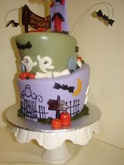 Topsy Turvy Halloween Birthday Cake (JMC Custom Cakes) Tags: birthday orange green halloween cake gate purple pumpkins bones ghosts gravestones bats fondant buttercream
