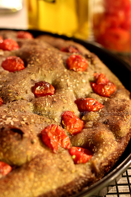 Grano Arso Focaccia with Cherry Tomatoes