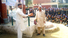 15th Octobar, 2010: Global handwashing with soap: Ismail Hashmi at GHHS UC Chamtar demonstrating Hand wash with soap steps to the students (irsppakistan) Tags: people flood session kot drab aman affected hygeine choki irsp clts