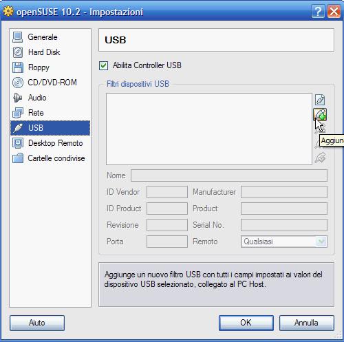 VirtualBox - abilitazione USB e pulsante 'Aggiungi' di dispositivi USB