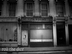 No Tea` (roll the dice) Tags: old blackandwhite london history coffee rain weather photoshop bacon cafe closed sad tea decay camden holborn bloomsbury local derelict stgiles tearooms vanished wc1 londonist bygone