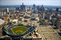 Detroit Michigan (paulhitz) Tags: city blue urban usa color green tourism june skyline digital canon geotagged eos rebel blog downtown baseball map michigan tag detroit visit tagged helicopter blogged geo geotag aerialphotography 07 comerica 2007 mapped mlb comericapark xti eosdigitalrebelxti canoneosdigitalrebelxti paulhitz xticanoneosdigitalrebeleos