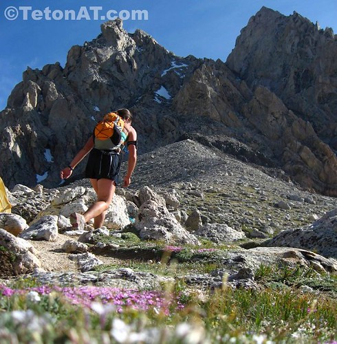 Julia keeps moving at the Lower Saddle. Not stopping is key to moving fast in the mountains
