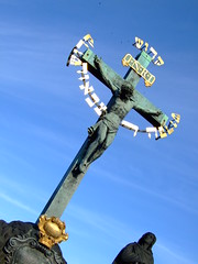 Crucifix Statue on Charles Bridge in Prague