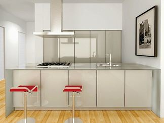 Tempered glass kitchen at Loft 25, Chelsea