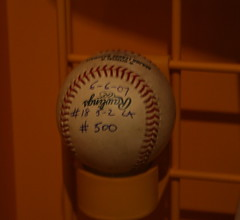 Trevor's 500th Save ball.