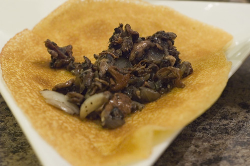crepe with mushroom filling