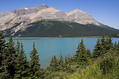 Bow Lake (melmark44) Tags: lake canada nature water reflections landscape outdoors glacier alberta banff emerald banffnationalpark glacial icefieldsparkway bowlake numtijahlodge tourquoise cloudlesssky rockflour thompsonpeak mountjimmysimpson mountthompson peytopeak melmarkowitz