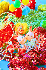 Giddy Litter (boopsie.daisy) Tags: color cute bunnies colors glitter vintage balloons happy stash beads colorful pretty bright vibrant clown kitsch pile stuff bunch string rabbits cheerful supplies joyful sequins birdies 10faves cupcaketoppers colourartaward