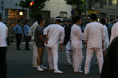 yakuza members mill around, wanting a chance to carry the big mikoshi (flashlightfish) Tags: festival japan tokyo police yakuza matsuri japanesepolice torigoe torigoematsuri