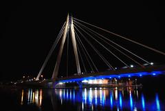 Marine Way Bridge -  Southport UK (JTD-Matt) Tags: night nikon d200 suspensionbridge freezingcold sigma1770mm southportuk southportlakefrozen enlightedbridge
