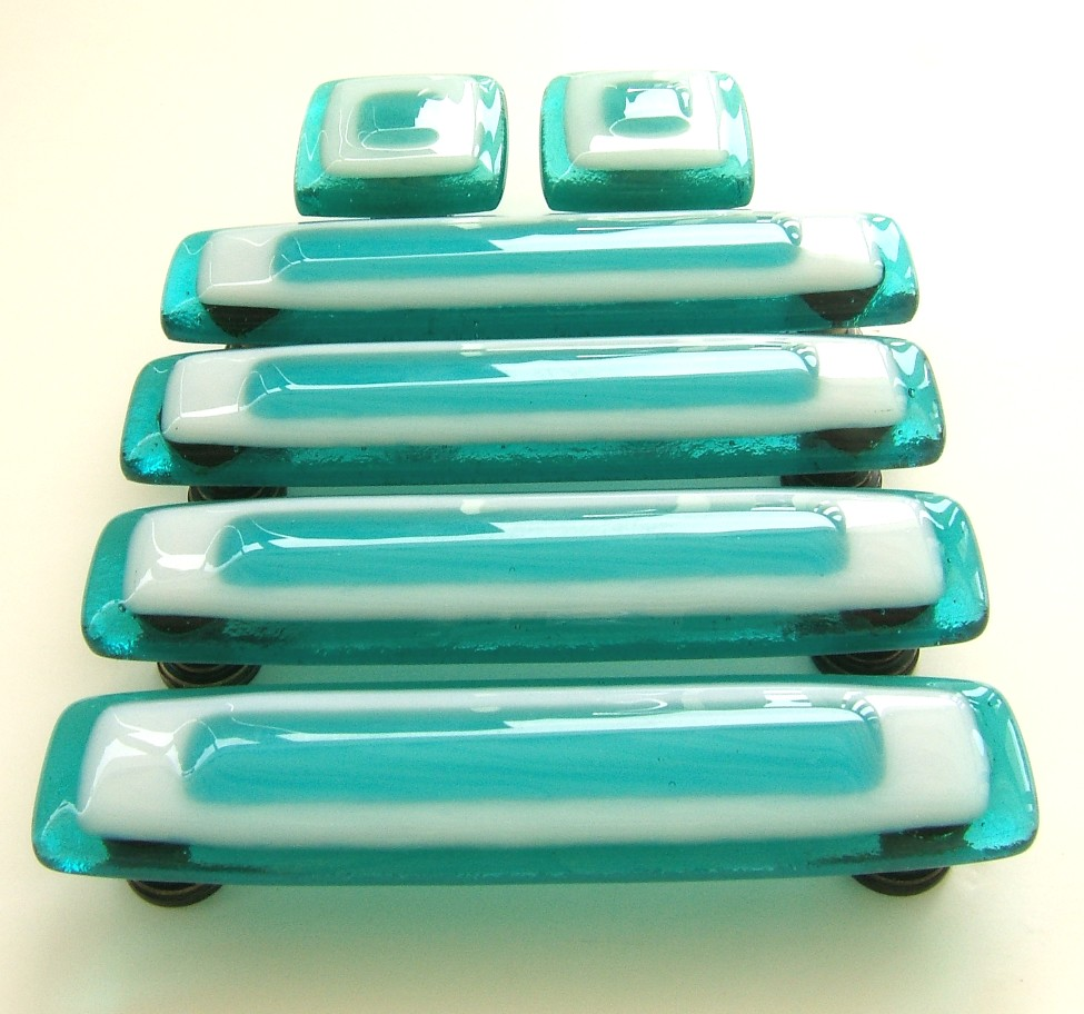 Glass Knobs and Pulls in Custom Turquoise and White Glass