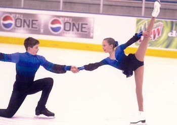"Will (15) and Chrissy (10) in 2000. Will and Chrissy heard ""I love you"" a lot throughout their competitive skating careers."