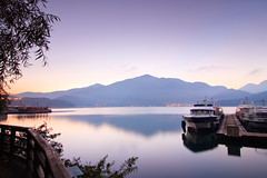 Peace in My Heart (samyaoo) Tags: morning lake mountains reflection sunrise taiwan  wharf    sunmoonlake  nantou           samyaoo