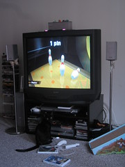 Chauncey plays Wii Bowling