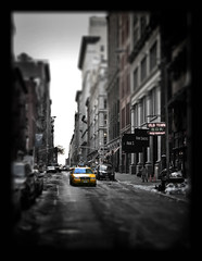yellow cab (NiccollsDP) Tags: street city nyc winter newyork bar manhattan taxi yellowcab desaturated paulniccolls